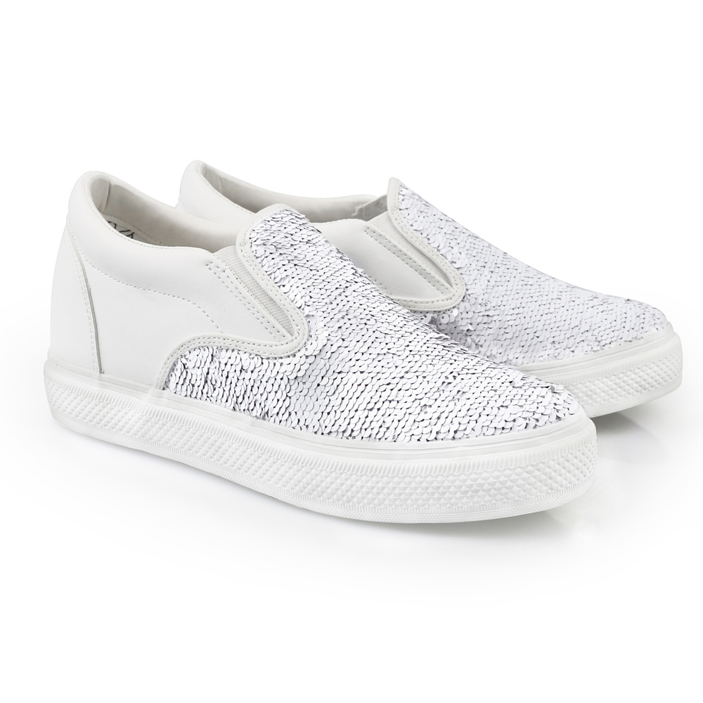 white sequined s slip on iijin tennis shoes