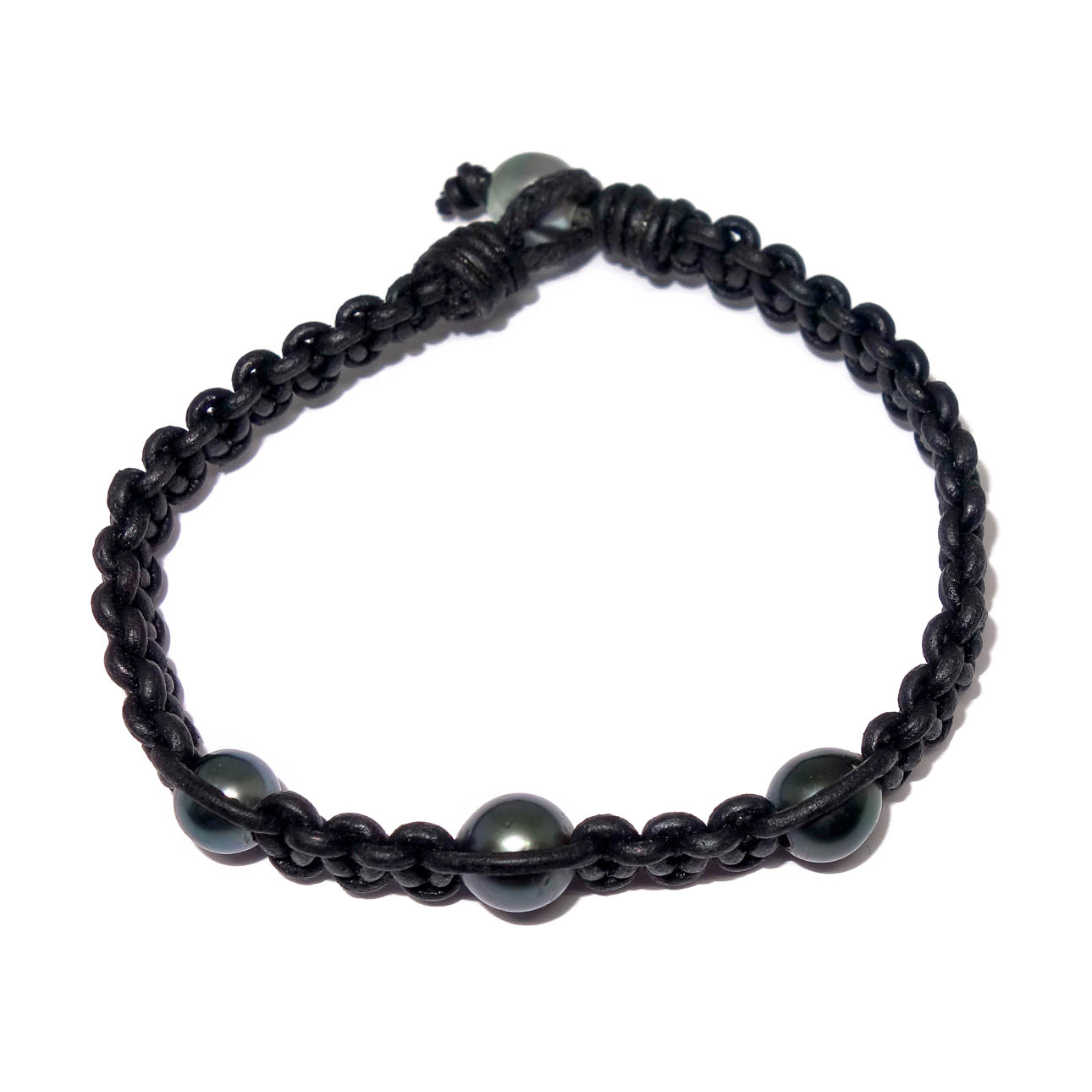 Woven Leather Tahitian Pearl Bracelet