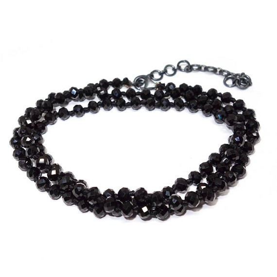 Hand Knotted Black Spinel Bracelet Necklace