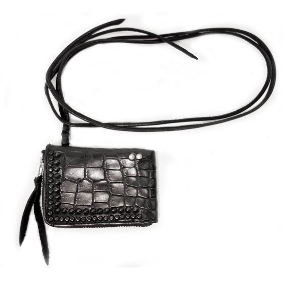 Black KMRii Crocodile Leather Multi Pouch