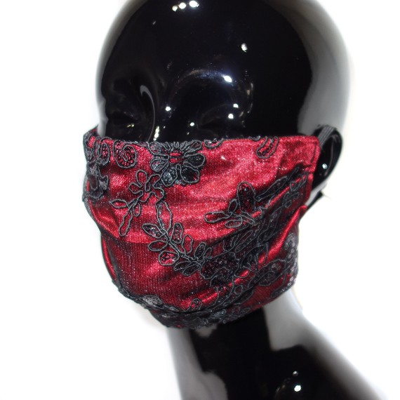 Red Embroidered Face Mask