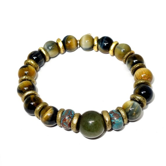Jade, Turquoise, Golden Tiger's Eye & Brass Bracelet