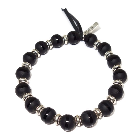 Limited Edition Polished Stripe Onyx & Silver Accent Bracelet