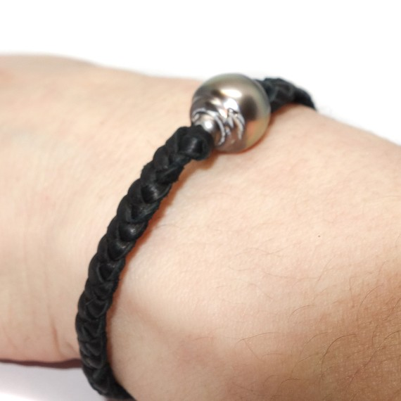 Braided Deer Skin & Pearl Men's Bracelet