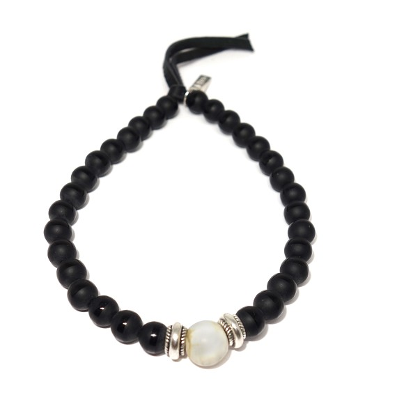 Natural Conch Shell & Striped Black Agate Bracelet