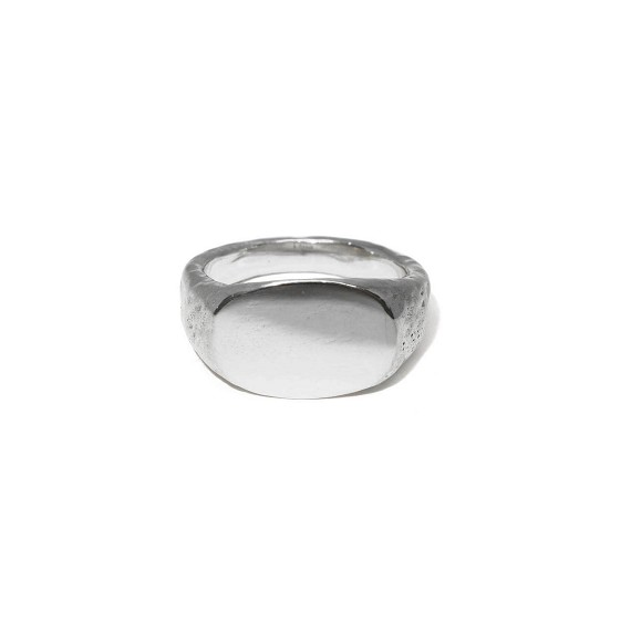 Men's Silver Hammered Signet Ring