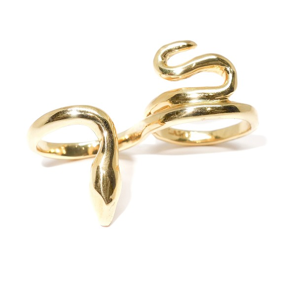 18k Gold Double Finger Snake Ring