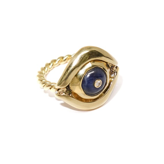18k Gold Sapphire & Diamond Evil Eye Ring