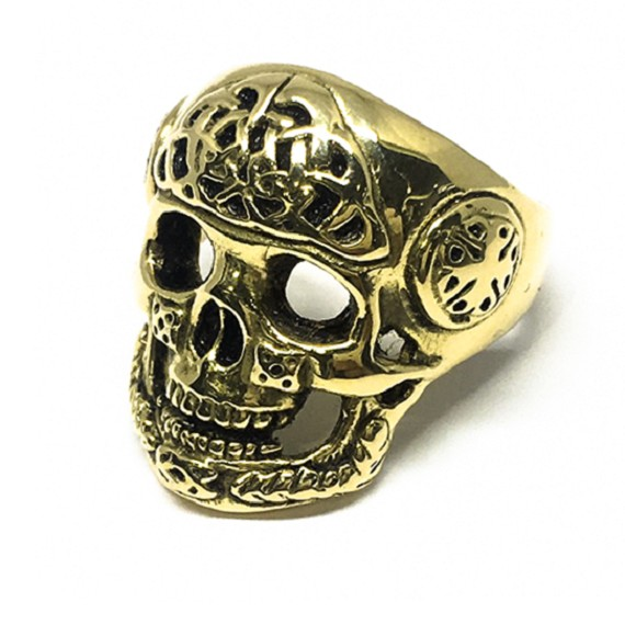 18KT Celtic Men's Gold Skull Ring