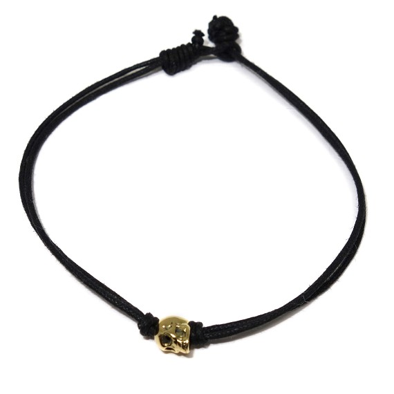 14kt Gold Skull Hemp Men's Bracelet
