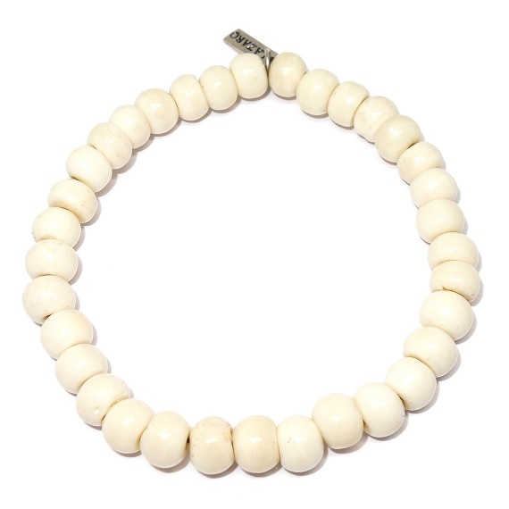 8mm Bone Bead Bracelet