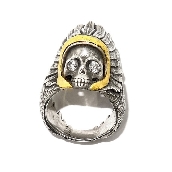 Silver & Gold Native American Skull Ring