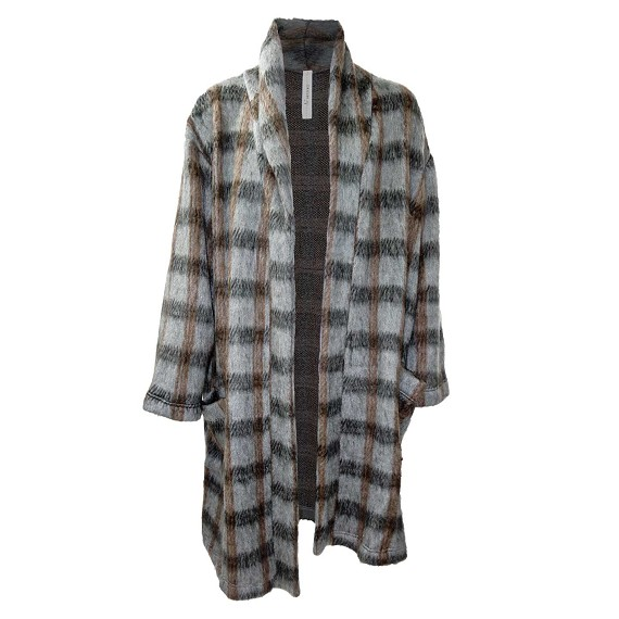 A.F Artefact Plaid Wool Robe Coat