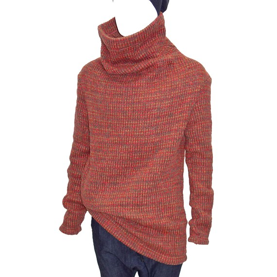 Af Artefact Red Mustard Brown Woven Turtleneck Sweater Mens