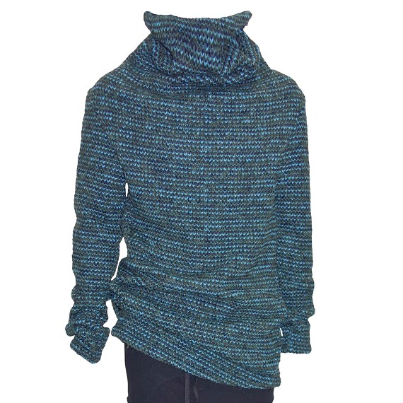 A.F. Artefact Turquoise, Navy, & Green Woven Turtleneck Sweater