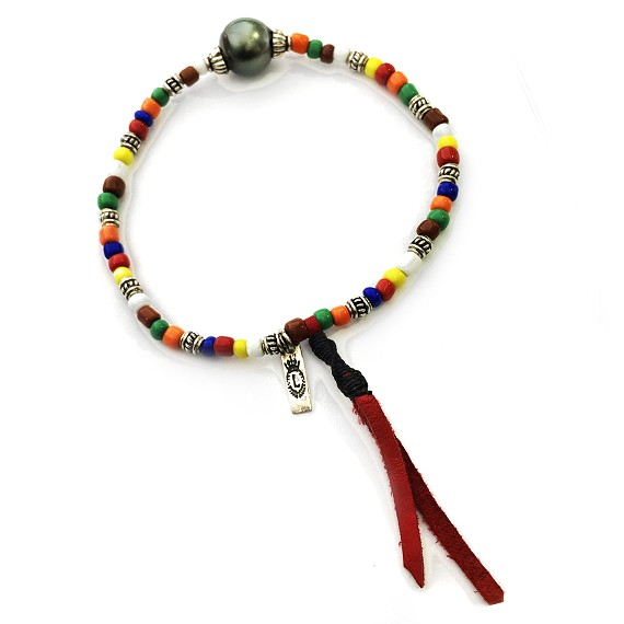 African Glass & South Sea Pearl Men's Beaded Bracelet