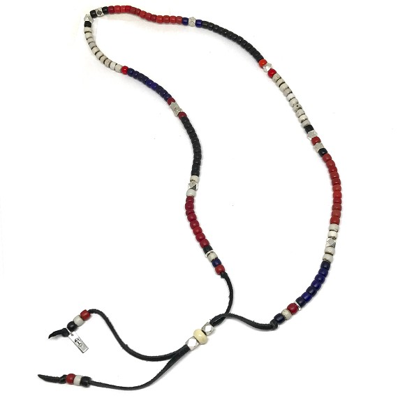African Trade Beads & Bone Beaded Leather Lariat