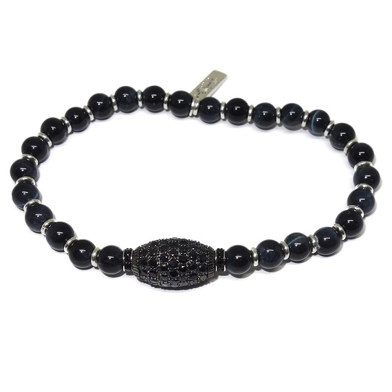 Beaded Tiger's Eye & Black Sapphire Bracelet