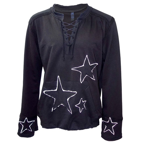 Black Embroidered Star Lace Up Shirt