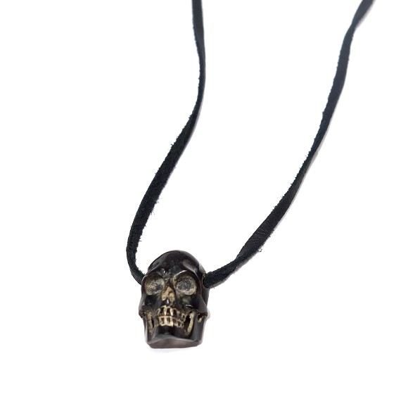 Black Jet Skull on Leather Strap Necklace