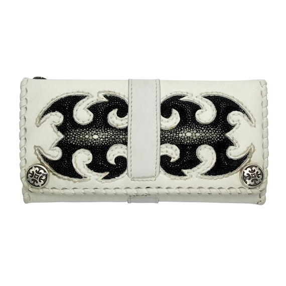 Black Sting Ray Leather on White Leather Men's Wallet