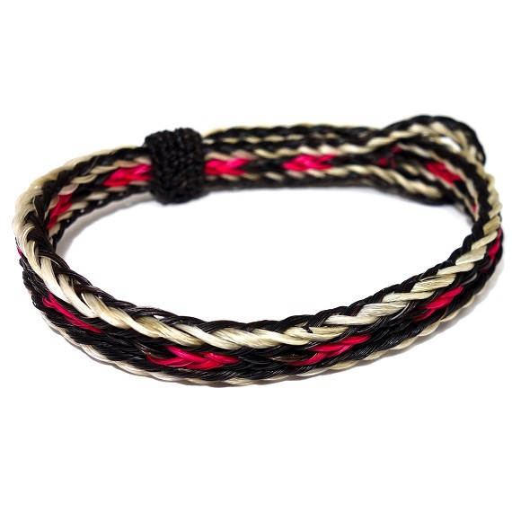 Black, White, & Red Horsehair Bracelet