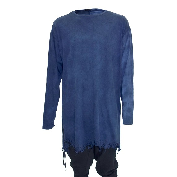 Blue Long Sleeve Destroyed Hem Shirt