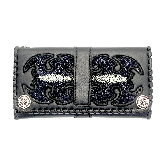 Blue Sting Ray Leather on Black Leather Men's Wallet
