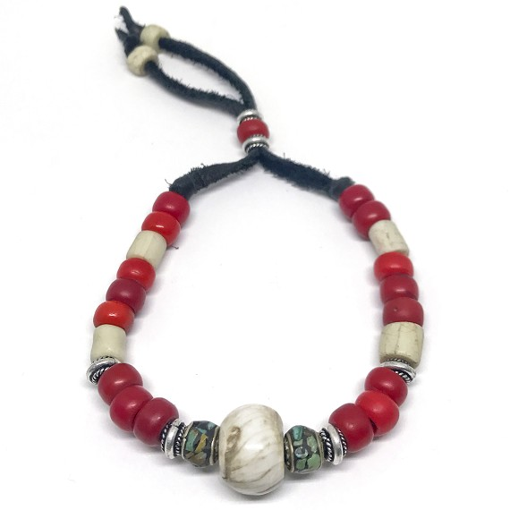 Bone & Conch African Beaded Bracelet
