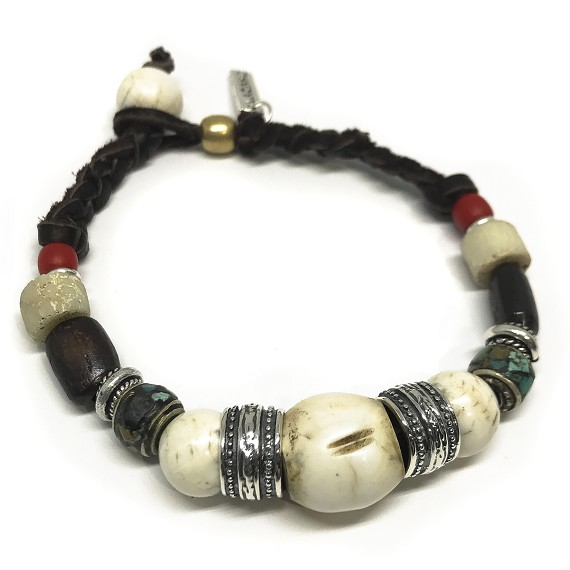 Bone, Conch & Wood African Beaded Bracelet