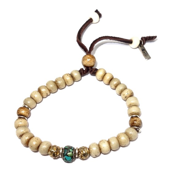 Bone, Turquoise, Silver, & Brass Adjustable Bracelet