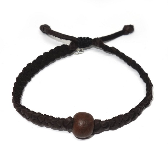 Braided Leather & Tibetan Wood Prayer Bead Bracelet
