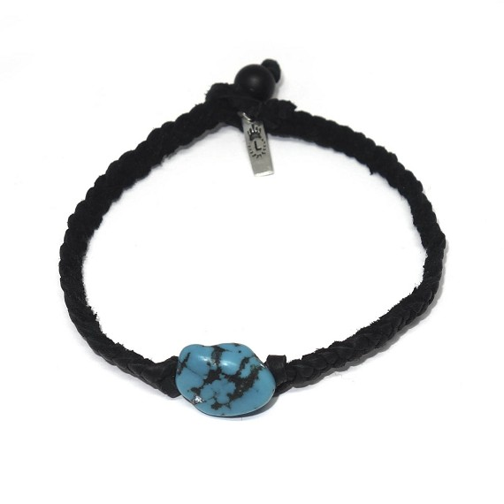 Limited Edition Braided Leather & Turquoise Bracelet