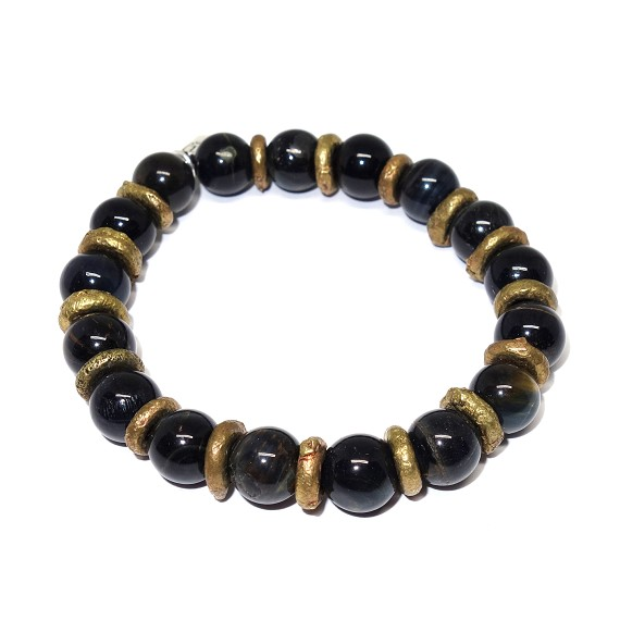 Brass & Dark Blue Tigers Eye Men's Beaded Bracelet