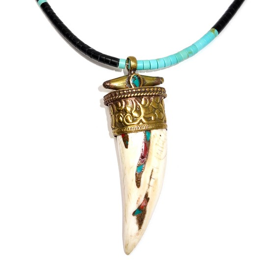 Brass, Coral, Turquoise, & Conch Pendant on Turquoise Necklace