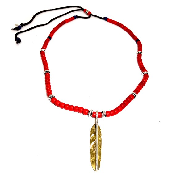Bronze & Silver Feather on Ceramic, Silver, & Leather Beaded Necklace