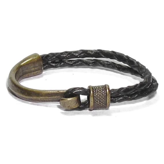 Black Leather Bronze Nautical Men S Bracelet