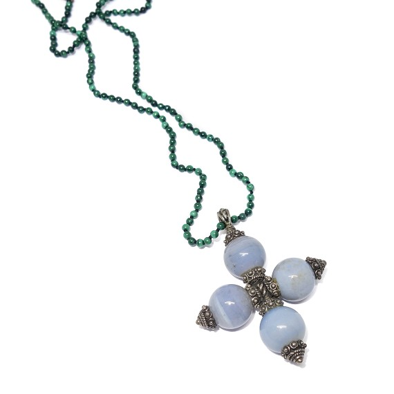 Chalcedony & Silver Pendant On Malachite Necklace