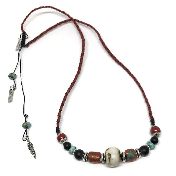 silver thread coral red necklace com online black buy at jaypore