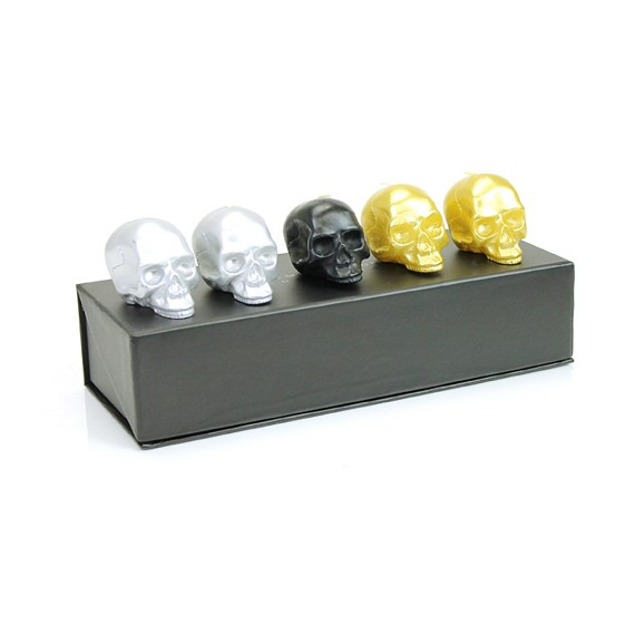 D.L. & Co. Metallic Colors 5 Piece Mini Skull Candle Set