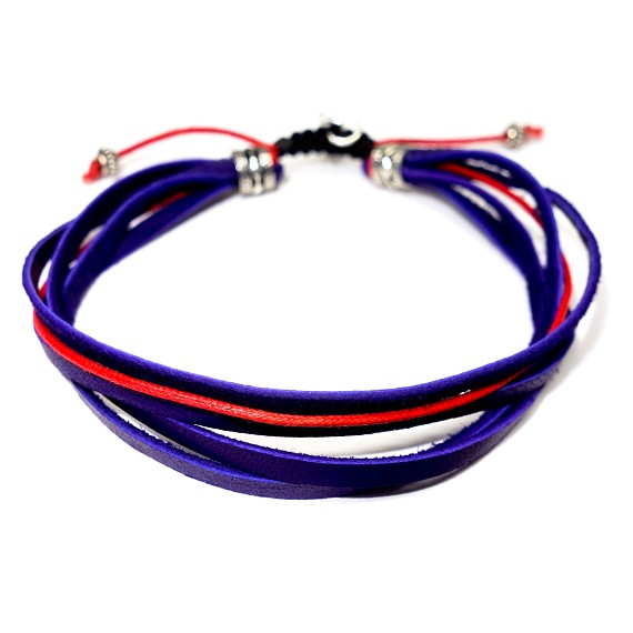 Deep Purple Deerskin Leather & Red Accent Bracelet