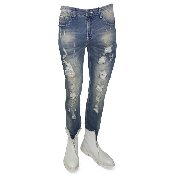 Destroyed Distressed Light Wash Men's Jeans