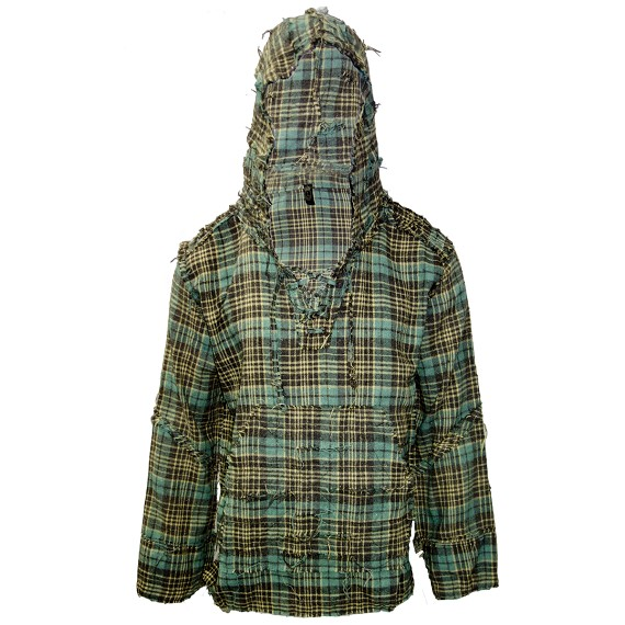 Destroyed Prewashed Green & Brown Flannel Hoodie