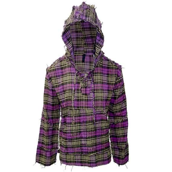 Destroyed Prewashed Purple & Yellow Flannel Hoodie