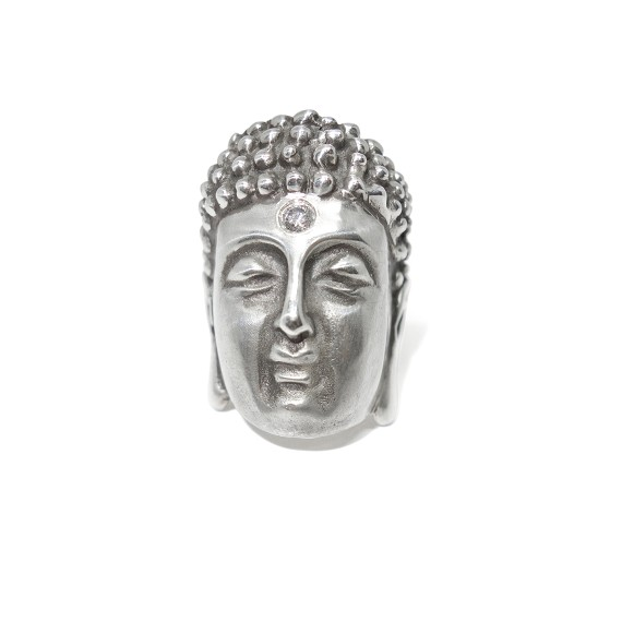 Diamond & Silver Buddha Ring