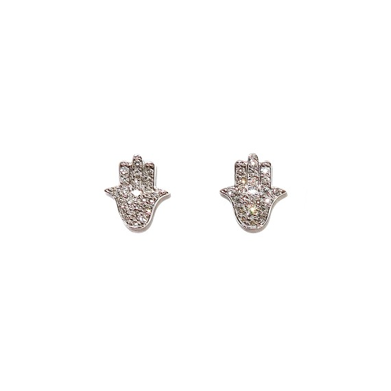 Diamond & White Gold Hamsa Hand Stud Earrings