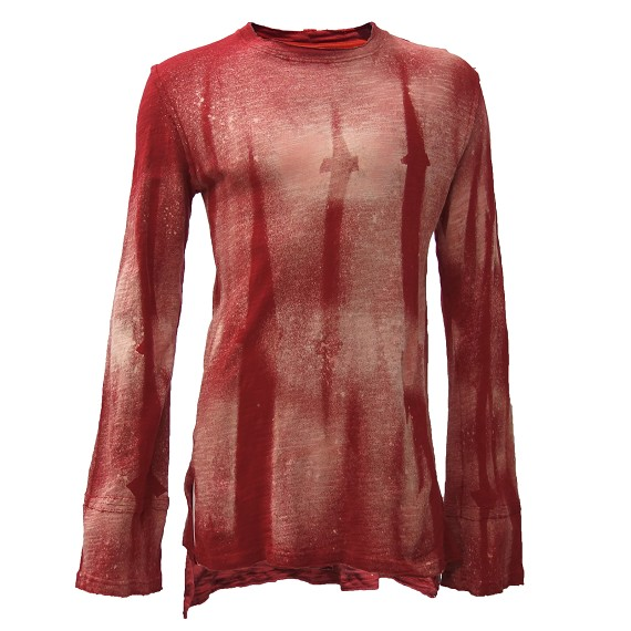 Distressed Red Limited Edition Discharged Linen Shirt