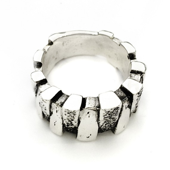 Distressed Solid Sterling Silver Men's Ring