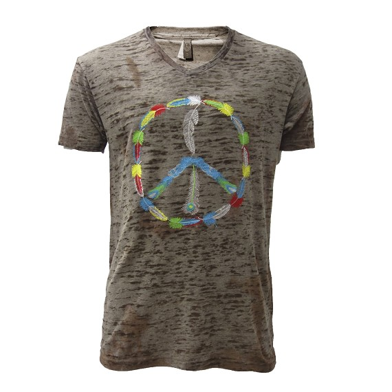 Embroidered Feathered Peace On Grey Burnout Tee