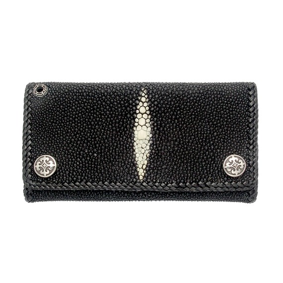 Fleur-De-Lis and Black Sting Ray Leather Men's Wallet